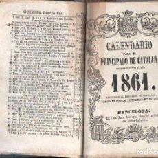 Coleccionismo Calendarios: DIEZ CALENDARIOS PARA EL PRINCIPADO DE CATALUÑA 1859 A 1868. Lote 153825442