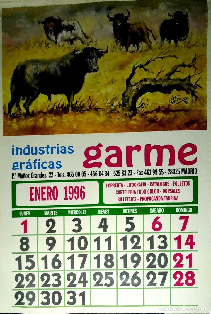 Coleccionismo Calendarios: MADRID.CALENDARIO.INDUSTRIAS GRAFICAS GARME. FERIAS 1996. - Foto 2 - 154865670