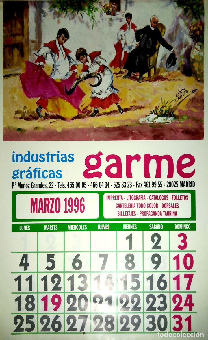 Coleccionismo Calendarios: MADRID.CALENDARIO.INDUSTRIAS GRAFICAS GARME. FERIAS 1996. - Foto 4 - 154865670