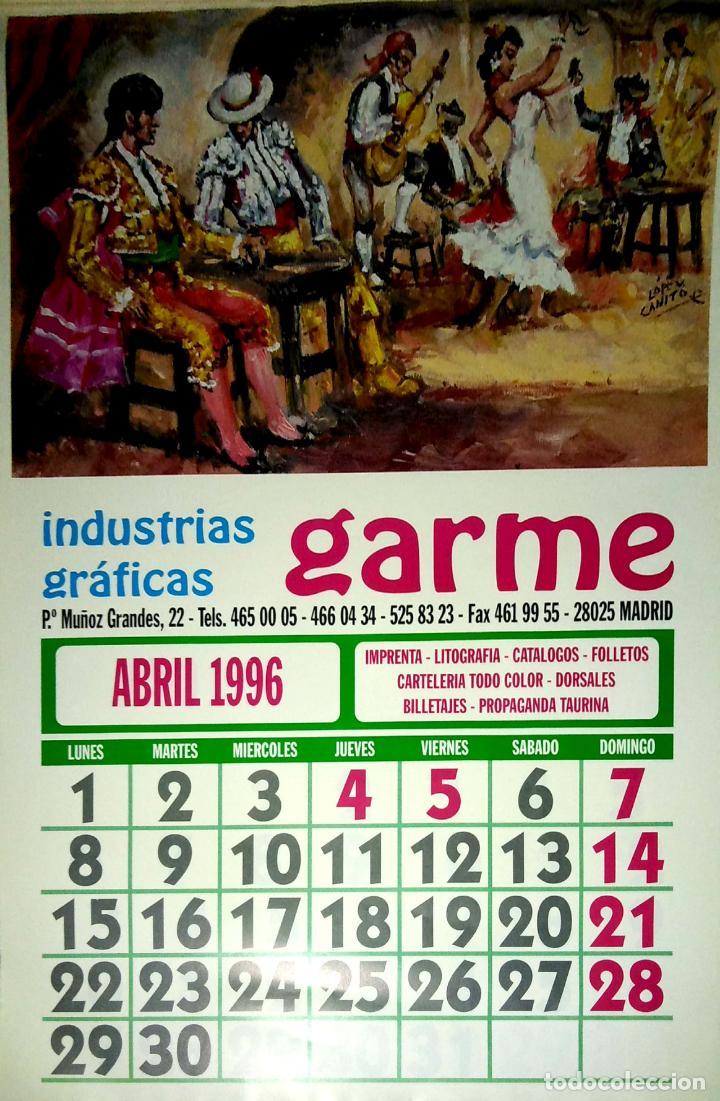 Coleccionismo Calendarios: MADRID.CALENDARIO.INDUSTRIAS GRAFICAS GARME. FERIAS 1996. - Foto 5 - 154865670