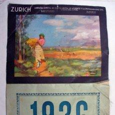 Coleccionismo Calendarios: ANTIGUO CALENDARIO DE PARED. 1936. ZURICH SEGUROS. MADRID. BARCELONA. COMPLETO. ORIGINAL. Lote 155569786