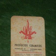 Coleccionismo Calendarios: CALENDARIO 1949 - PRODUCTOS CERAMICOS ODE - BARCELONA. Lote 155700854