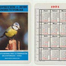 Coleccionismo Calendarios: CALENDARIO FOURNIER. ICONA PROTECCIÓN DE AVES INSECTÍVORAS HERRERILLO COMÚN 1974. Lote 156843588