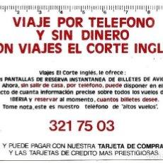 Coleccionismo Calendarios: CALENDARIO DE BOLSILLO VIAJES EL CORTE INGLÉS AÑO 1981 - PLÁSTICO. Lote 160438590