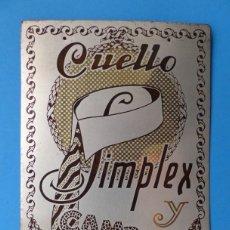 Coleccionismo Calendarios: CALENDARIO - CUELLO SIMPLEX Y CAMPEON - AÑO 1929. Lote 161813486