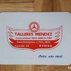 Coleccionismo Calendarios: CALENDARIO PUBLICITARIO - TALLERES MENDEZ ESPECIALIDAD SEAT - SIMCA - FIAT (OVIEDO) AÑO 1965 - VER F. Lote 163707070