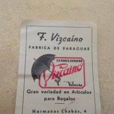 Coleccionismo Calendarios: CALENDARIO DE 1955 FÁBRICA DE PARAGUAS F.VIZCAINO - VALENCIA -. Lote 163795797