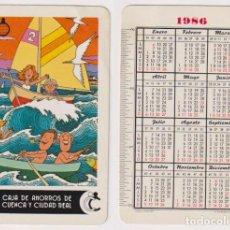 Coleccionismo Calendarios: CALENDARIO FOURNIER. CAJA DE AHORROS DE CUENCA Y CIUDAD REAL 1986. Lote 164387041