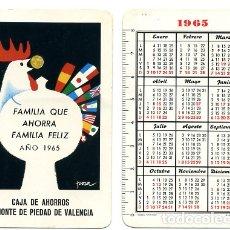 Coleccionismo Calendarios: CALENDARIO FOURNIER, CAJA DE AHORROS VALENCIA , 1965 , ORIGINAL , CAD 251. Lote 166692582