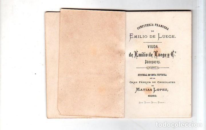 Coleccionismo Calendarios: ALMANAQUE OBISPADO DE CADIZ 1882. CONFITERIA EMILIO DE LUEGE. CADIZ. CHOCOLATE. MATIAS LOPEZ. LEER. - Foto 3 - 169492200