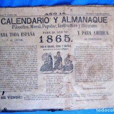 Coleccionismo Calendarios: CALENDARIO Y ALMANAQUE PARA EL AÑO DE 1865. IMP. DE JAIME JEPÚS, BARCELONA, 1864.. Lote 169657500