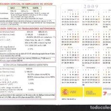 Coleccionismo Calendarios: TESORERÍA GENERAL DE LA SEGURIDAD SOCIAL. BASES DE COTIZACIÓN. DÍPTICO CALENDARIO BOLSILLO 2009.. Lote 169908828