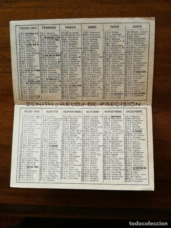 Coleccionismo Calendarios: Reloj Zenith - Calendario Almanaque de bolsillo de 1919 - El Reloj Perfecto - Foto 3 - 169963308
