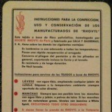 Coleccionismo Calendarios: FOURNIER 1960. CALENDARIO DE MANUFACTURAS RHOVYL, RARO.. Lote 171277212
