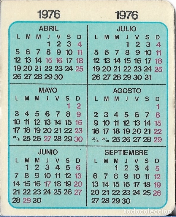 Calendario Julio 1976.Calendario 1976 Laboratorio Fides