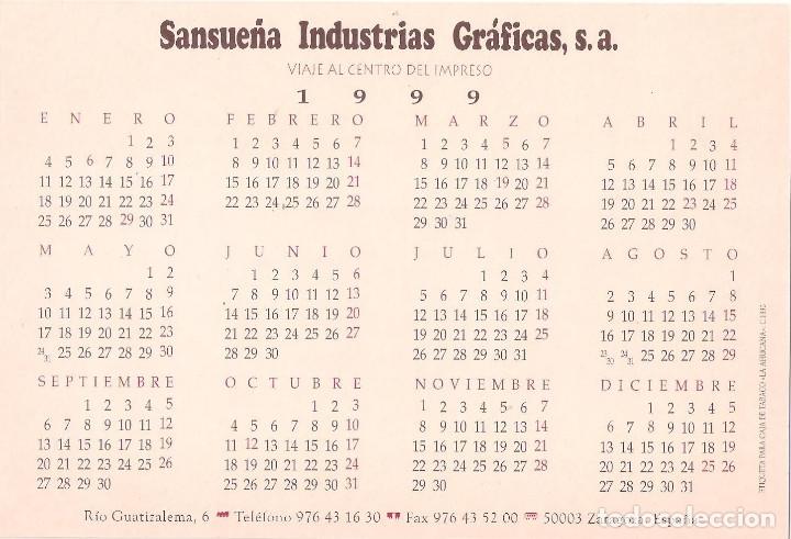 Coleccionismo Calendarios: Lote de 4 Postales Calendario de 1999. Gráficas Sansueña Zaragoza. EX - Foto 3 - 175948052
