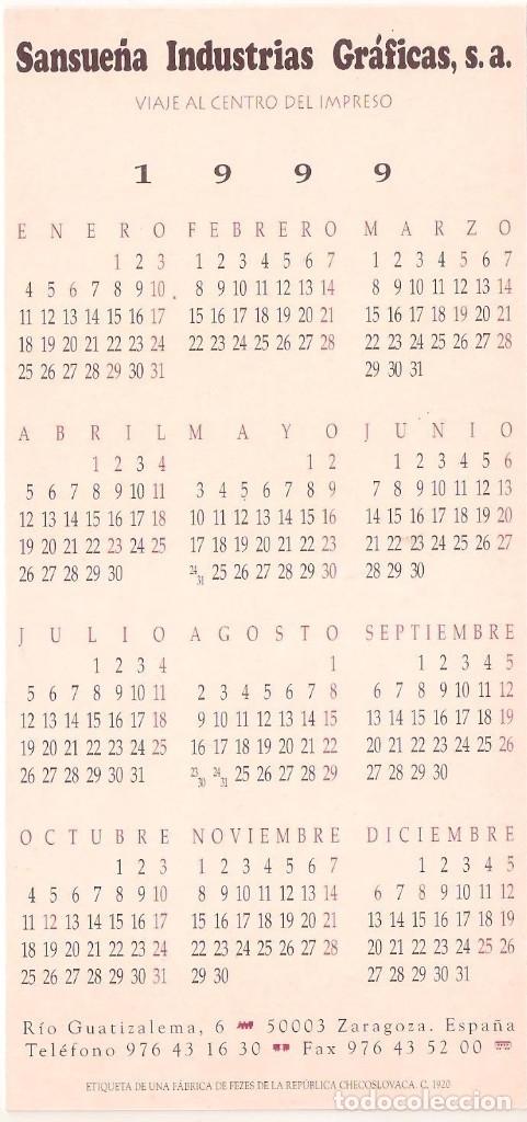 Coleccionismo Calendarios: Lote de 4 Postales Calendario de 1999. Gráficas Sansueña Zaragoza. EX - Foto 9 - 175948052