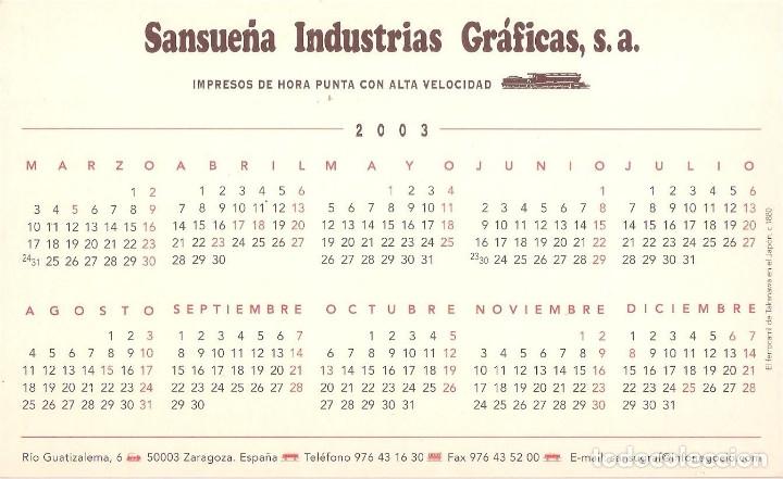 Coleccionismo Calendarios: Lote de 4 Postales Calendario de 2003. Gráficas Sansueña Zaragoza. EX - Foto 9 - 175991683