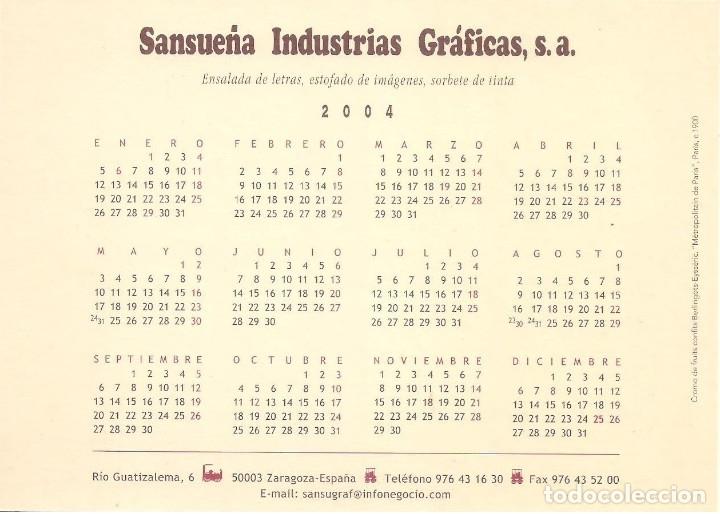 Coleccionismo Calendarios: Lote de 4 Postales Calendario de 2004. Gráficas Sansueña Zaragoza. EX - Foto 3 - 176015615