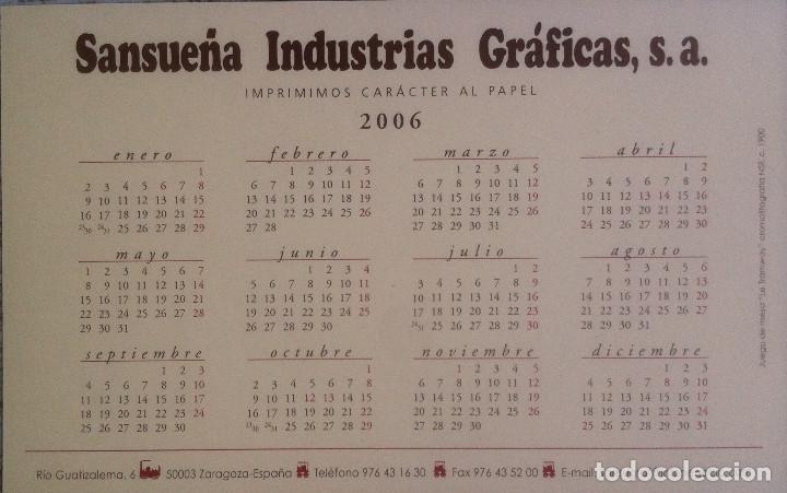 Coleccionismo Calendarios: Lote de 4 Postales Calendario de 2006 - Gráficas Sansueña Zaragoza. EX - Foto 5 - 176016310