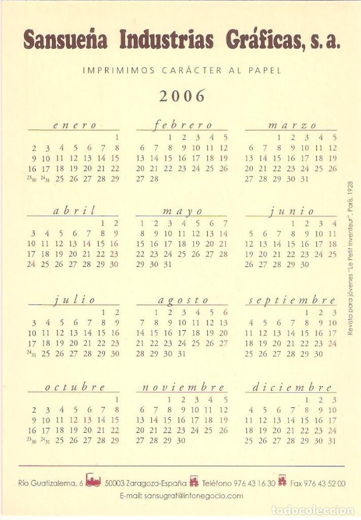 Coleccionismo Calendarios: Lote de 4 Postales Calendario de 2006 - Gráficas Sansueña Zaragoza. EX - Foto 9 - 176016310