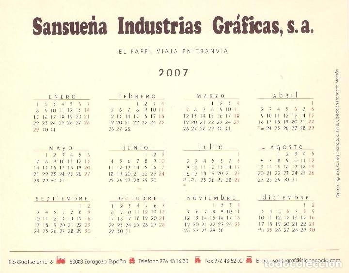 Coleccionismo Calendarios: Lote de 4 Postales Calendario de 2007 - Gráficas Sansueña Zaragoza. EX - Foto 9 - 176016694