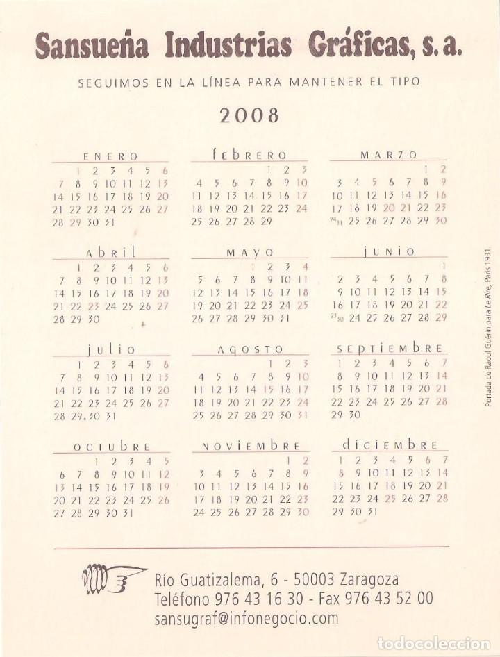 Coleccionismo Calendarios: Lote de 4 Postales Calendario de 2008 - Gráficas Sansueña Zaragoza. EX - Foto 3 - 176072023