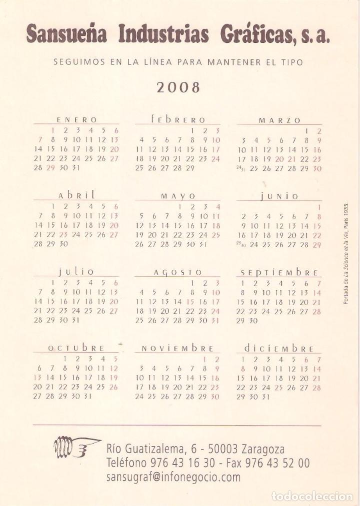 Coleccionismo Calendarios: Lote de 4 Postales Calendario de 2008 - Gráficas Sansueña Zaragoza. EX - Foto 7 - 176072023