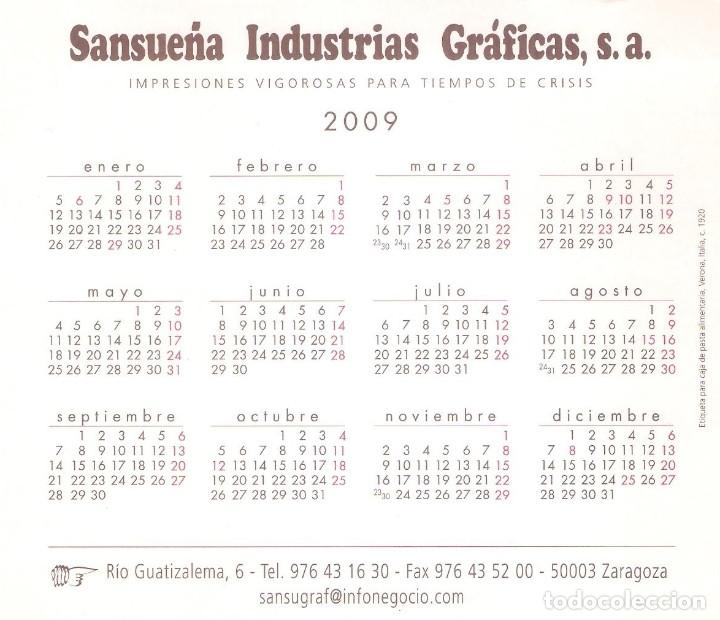 Coleccionismo Calendarios: Lote de 4 Postales Calendario de 2009 - Gráficas Sansueña Zaragoza. EX - Foto 3 - 176072855