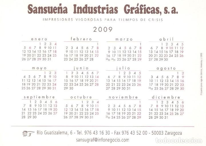 Coleccionismo Calendarios: Lote de 4 Postales Calendario de 2009 - Gráficas Sansueña Zaragoza. EX - Foto 7 - 176072855
