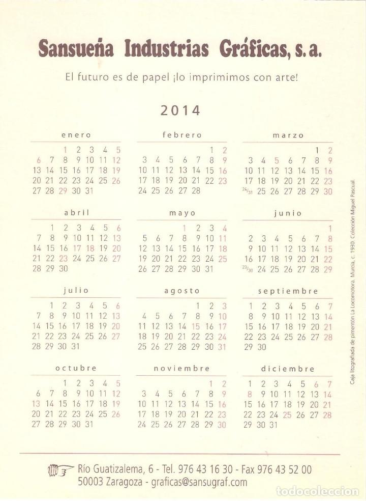 Coleccionismo Calendarios: Lote de 3 Postales Calendario de 2014 - Gráficas Sansueña Zaragoza. EX - Foto 3 - 176082898