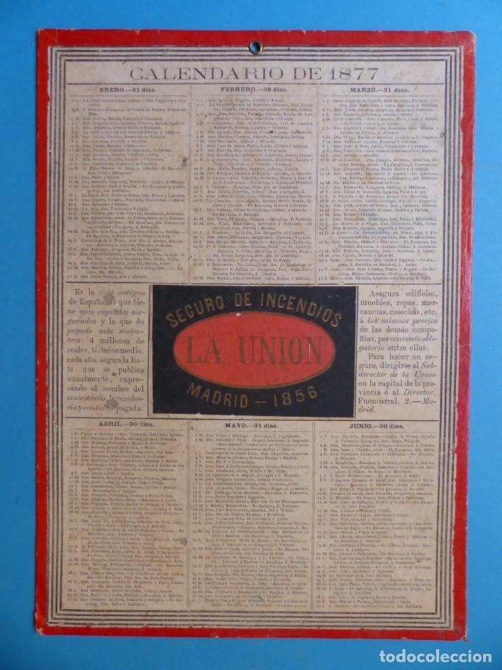 SEGURO DE INCENDIOS LA UNION, MADRID - RARO CALENDARIO A DOBLE CARA Y EN CARTON DURO DEL AÑO 1877 (Coleccionismo - Calendarios)
