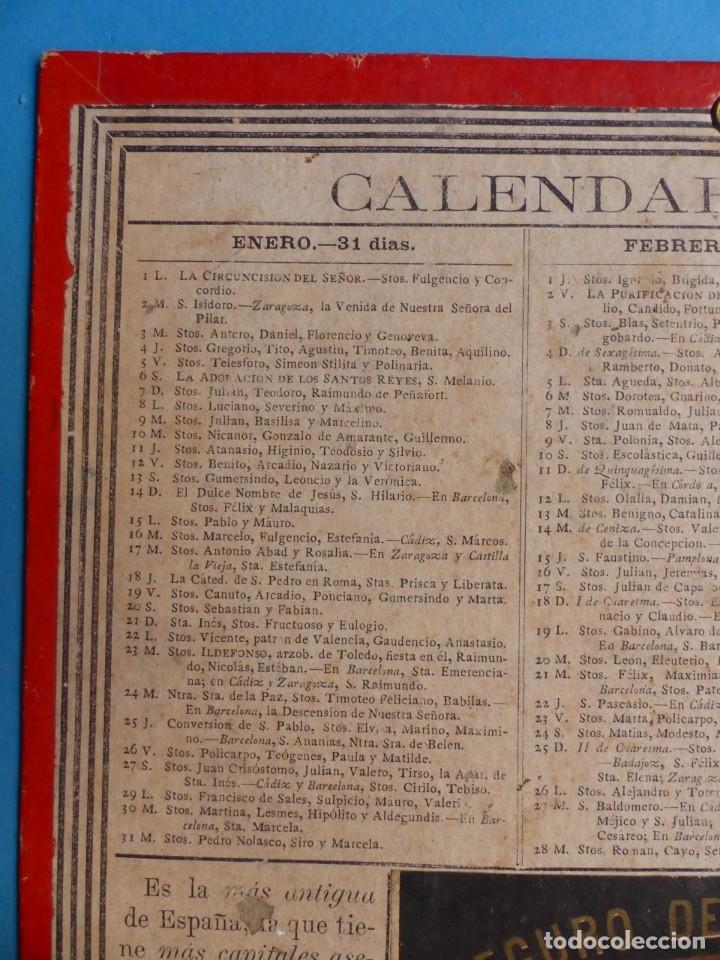 Coleccionismo Calendarios: SEGURO DE INCENDIOS LA UNION, MADRID - RARO CALENDARIO A DOBLE CARA Y EN CARTON DURO DEL AÑO 1877 - Foto 2 - 176844570