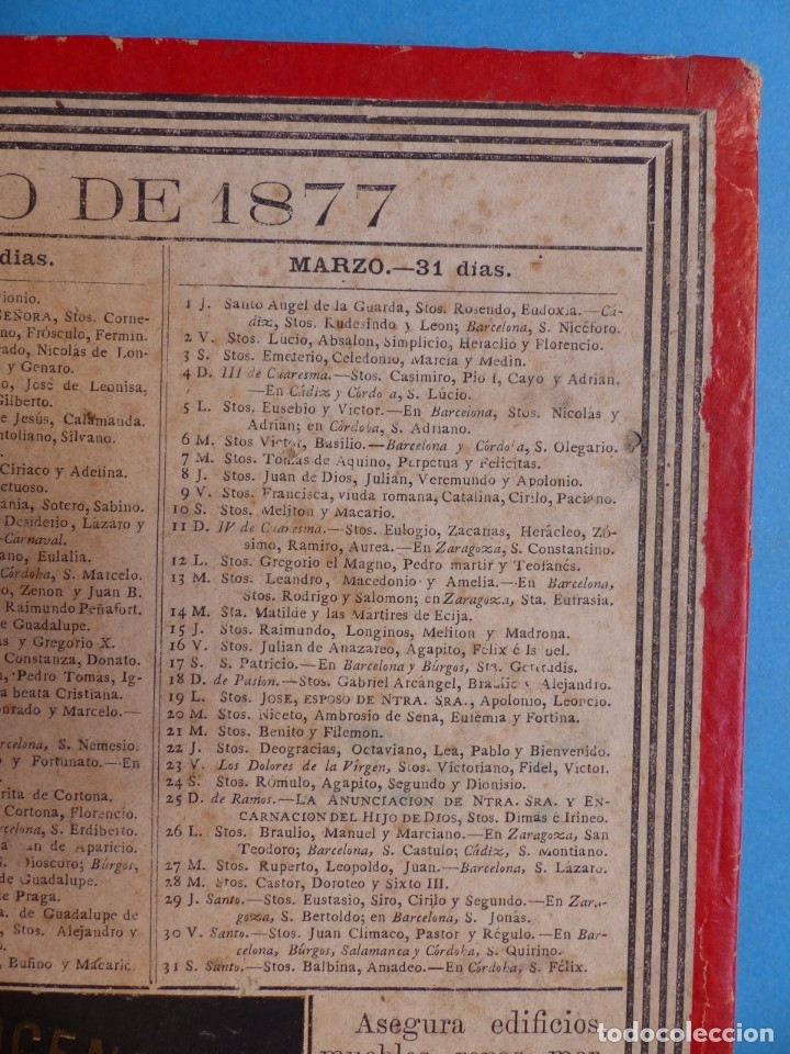 Coleccionismo Calendarios: SEGURO DE INCENDIOS LA UNION, MADRID - RARO CALENDARIO A DOBLE CARA Y EN CARTON DURO DEL AÑO 1877 - Foto 3 - 176844570