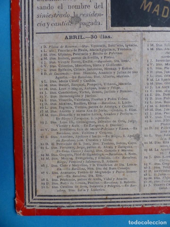 Coleccionismo Calendarios: SEGURO DE INCENDIOS LA UNION, MADRID - RARO CALENDARIO A DOBLE CARA Y EN CARTON DURO DEL AÑO 1877 - Foto 5 - 176844570