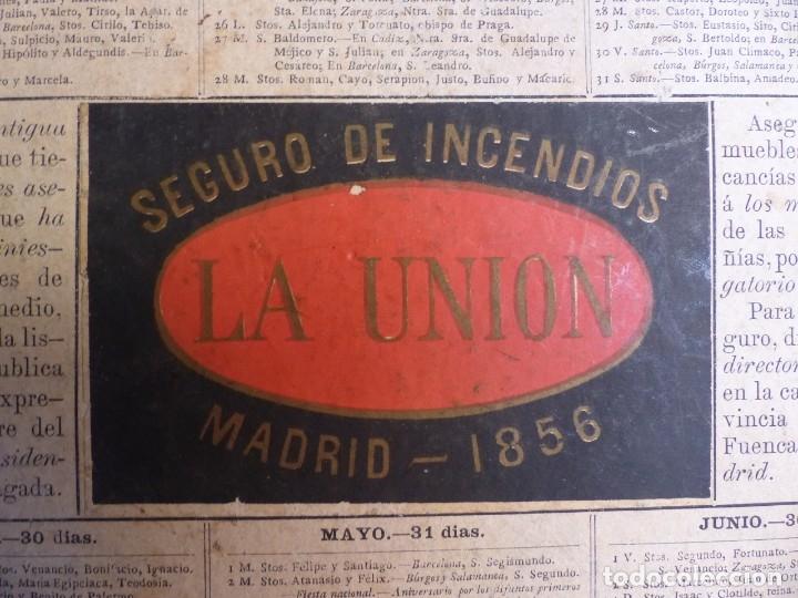Coleccionismo Calendarios: SEGURO DE INCENDIOS LA UNION, MADRID - RARO CALENDARIO A DOBLE CARA Y EN CARTON DURO DEL AÑO 1877 - Foto 6 - 176844570