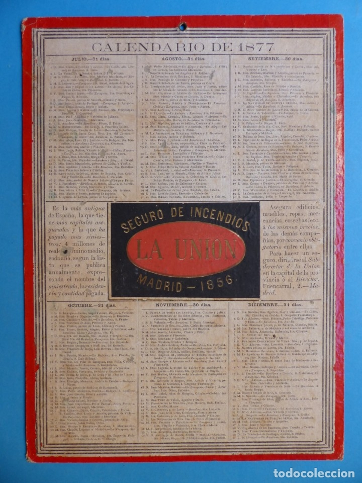 Coleccionismo Calendarios: SEGURO DE INCENDIOS LA UNION, MADRID - RARO CALENDARIO A DOBLE CARA Y EN CARTON DURO DEL AÑO 1877 - Foto 7 - 176844570