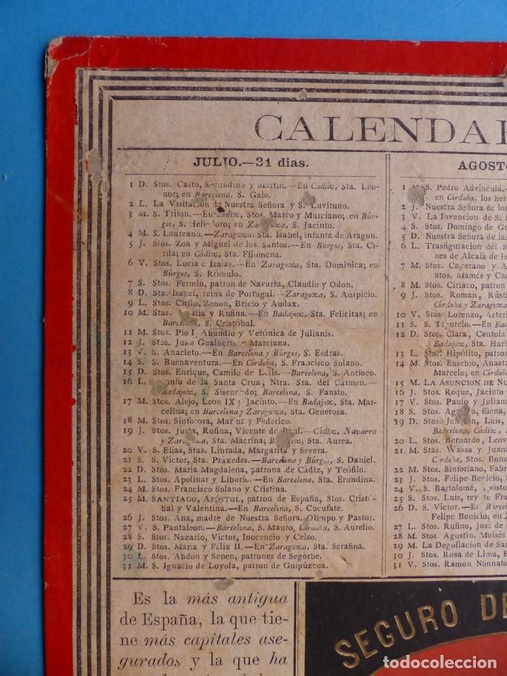 Coleccionismo Calendarios: SEGURO DE INCENDIOS LA UNION, MADRID - RARO CALENDARIO A DOBLE CARA Y EN CARTON DURO DEL AÑO 1877 - Foto 8 - 176844570