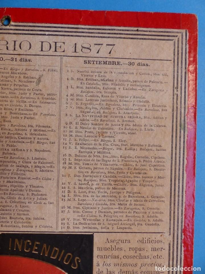 Coleccionismo Calendarios: SEGURO DE INCENDIOS LA UNION, MADRID - RARO CALENDARIO A DOBLE CARA Y EN CARTON DURO DEL AÑO 1877 - Foto 9 - 176844570