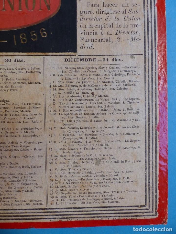 Coleccionismo Calendarios: SEGURO DE INCENDIOS LA UNION, MADRID - RARO CALENDARIO A DOBLE CARA Y EN CARTON DURO DEL AÑO 1877 - Foto 10 - 176844570