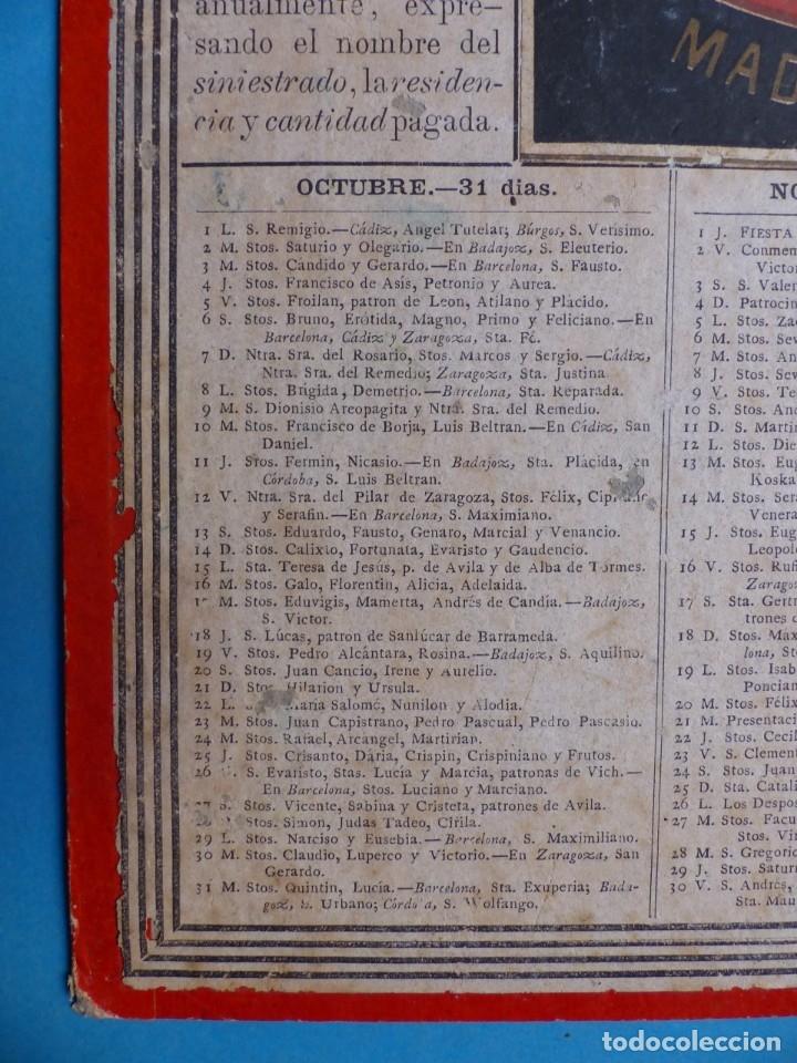 Coleccionismo Calendarios: SEGURO DE INCENDIOS LA UNION, MADRID - RARO CALENDARIO A DOBLE CARA Y EN CARTON DURO DEL AÑO 1877 - Foto 11 - 176844570