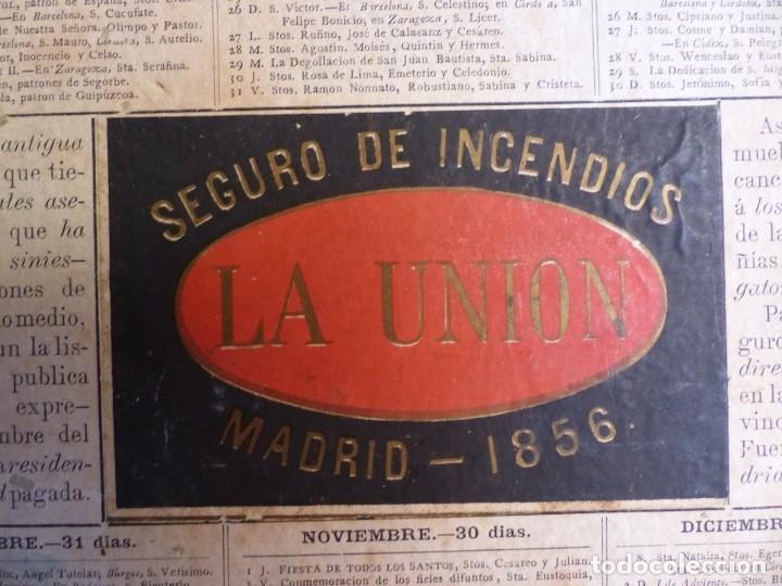 Coleccionismo Calendarios: SEGURO DE INCENDIOS LA UNION, MADRID - RARO CALENDARIO A DOBLE CARA Y EN CARTON DURO DEL AÑO 1877 - Foto 12 - 176844570