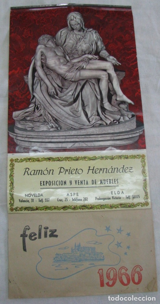 ASPE-ELDA-NOVELDA. CALENDARIO 1966, EXPOSICIÓN Y VENTA DE MUEBLES RAMON PRIETO HERNANDEZ (Coleccionismo - Calendarios)