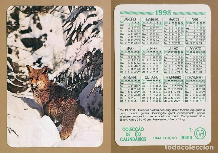 FAUNA - CALENDARIO EDITADO EN PORTUGAL - AÑO - 1993 (Coleccionismo - Calendarios)