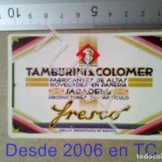 Coleccionismo Calendarios: TUBAL 1932 SABADELL TAMBURINI CALENDARIO B04. Lote 178949955