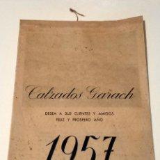 Coleccionismo Calendarios: ANTIGUO CALENDARIO PARED DIBUJOS ACUARELAS ALHAMBRA GRANADA AÑO 1957 - CALZADOS GARACH. Lote 180972167