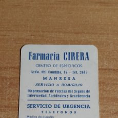 Coleccionismo Calendarios: CALENDARIO PUBLICITARIO - FARMACIA CIRERA (MANRESA - BARCELONA) AÑO 1965 - VER FOTO ADICIONAL. Lote 181682841