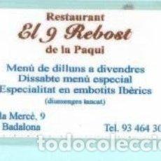Coleccionismo Calendarios: CALENDARIO DE PUBLICIDAD RESTAURANTE EL 9 REBOST DE BADALONA DEL AÑO 2000 ESP PLASTIFICADO. Lote 182011051