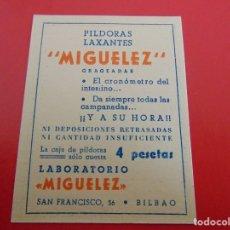 Coleccionismo Calendarios: CALENDARIO DE 1955 PÍLDORAS LAXANTES MIGUELEZ BILBAO. Lote 182838761
