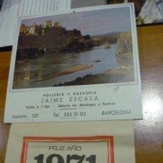 Coleccionismo Calendarios: CALENDARIO PARED 1971 - PUBLICIDAD POLLERIA Y HUEVERIA JAIME ESCALA (BARCELONA). Lote 186365547